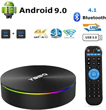 T95Q Android 8.1 TV Box Quad Core 4GB 32GB WiFi HD 4K Media Player USB3.0 1000M