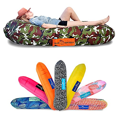 Chillbo Don POOLIO Pool Floats for Adults - Cool Patterns, Inflatable Sofa & Kids Hammock - Best Camping Gear for River Floats Hammock Chair & Raft for Beach (Camo Green) ()