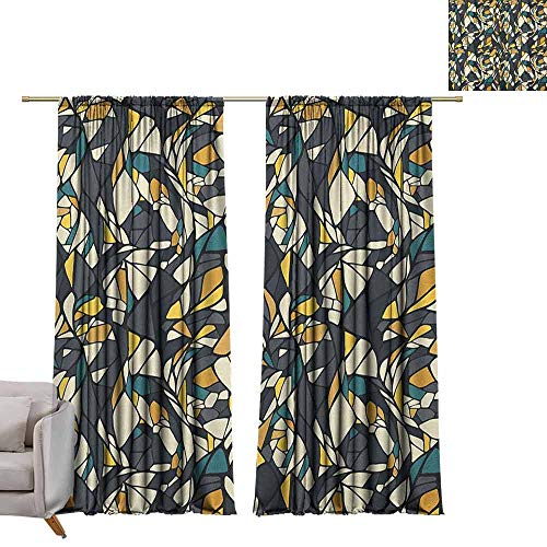 Contrast Diagonal Panel - berrly Room Darkening Wide Curtains Abstract,Fractal Formless Trippy Shapes in Contrast Tones Diagonal Mosaic Style Artsy Image, Multicolor W108 x L84 Window Curtain Fabric