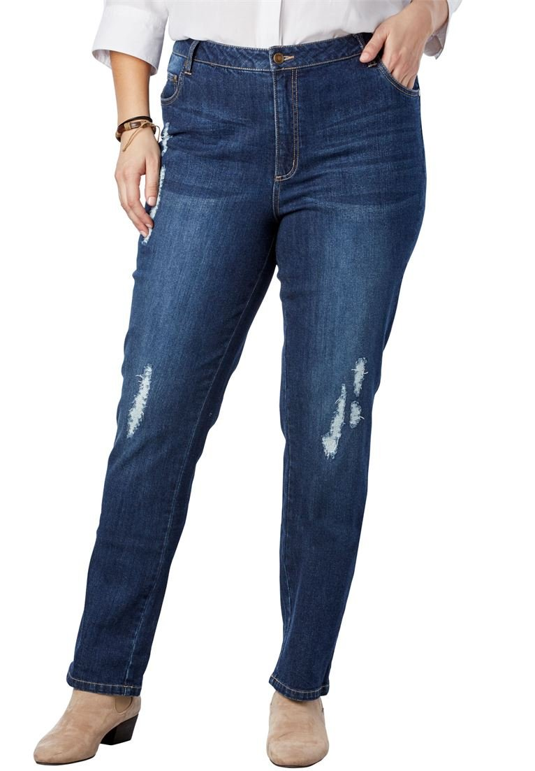 Woman Within Women's Plus Size Straight Leg Stretch Jean