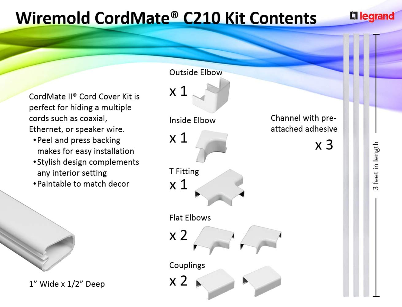 Legrand Wiremold C210 Cord Mate Ii Kit Cable Wiring Channels Pvc Concealer On Wall Cover Raceway White Home Improvement