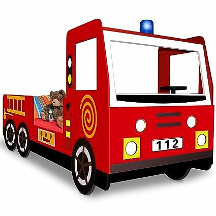 Fire Engine Toddler Bed.Single Child Car Bed Frame Boys Junior Bed Fire Truck Design 205x103cm Kids Bedroom
