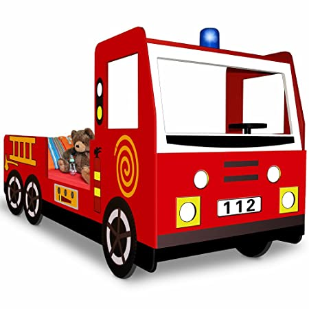 Deuba Child Car Bed Frame Fire Truck Toddler Bed Kids Bedroom ...