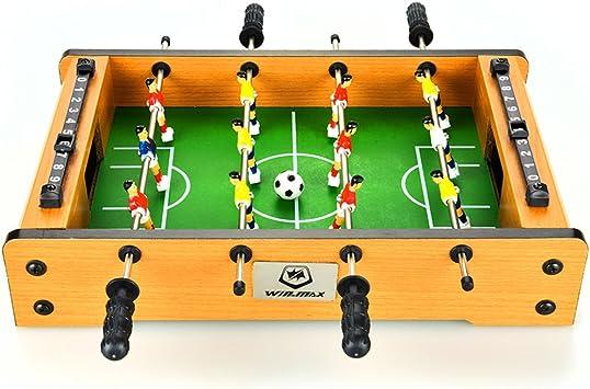WIN.MAX Juego de Mesa de fútbol Futbolin Foosball Juego de Tablero de MDF Tablero de Mini Tamaño 12 Jugadores (2): Amazon.es: Juguetes y juegos