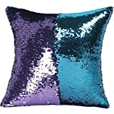 YGMONER DIY Double Colors Reversible Sequins Suede Fabric Mermaid Pillow Cases 16x16