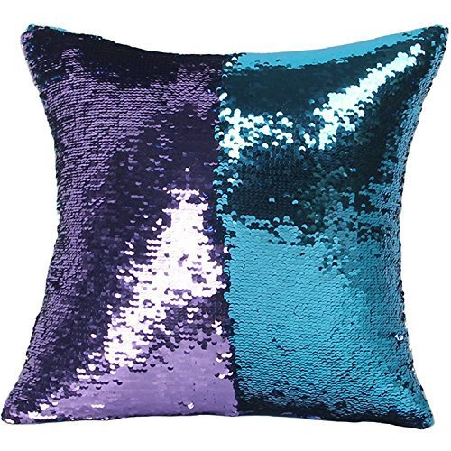 YGMONER DIY Double Colors Reversible Sequins Suede Fabric Mermaid Pillow Cases 16x16