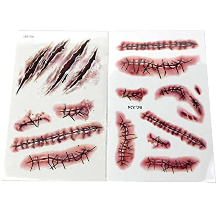 Halloween Temporary Tattoo Stickers Terror Wound Lifelike Blood Scar Pattern for Party Prop and Zombies Cosplay