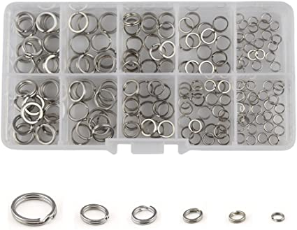 200Pcs//set Fishing Double Split Rings High Strength Heavy Stainless Stee TLY
