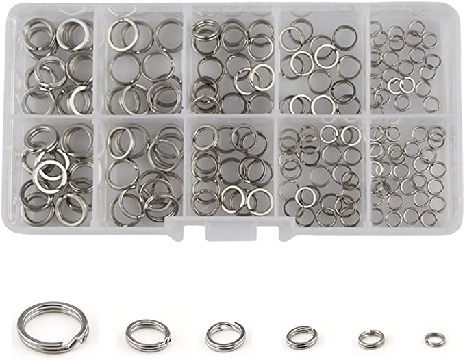 200pcs Stainless Steel Fishing Lure Split Ring Assortment Tackle Connector Lots