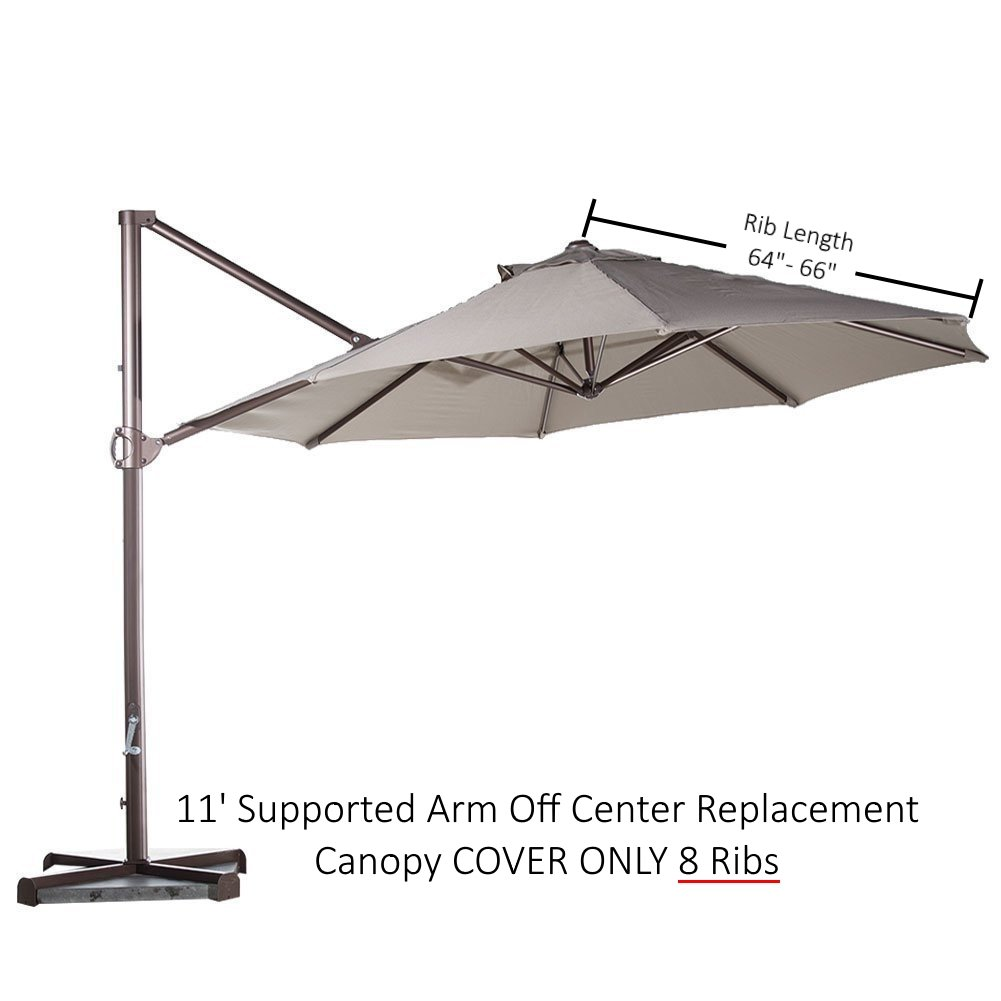 Formosa Covers Replacement Umbrella Canopy for 11ft 8 Rib Supported bar Cantilever Market Outdoor Patio Shades in Taupe Ribs Length 64'' to 66'' (Canopy Only) by Formosa Covers (Image #3)