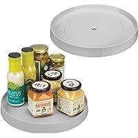 mDesign Lazy Susan Contenedor de plástico para almacenamiento de alimentos para armarios, despensa, refrigerador…