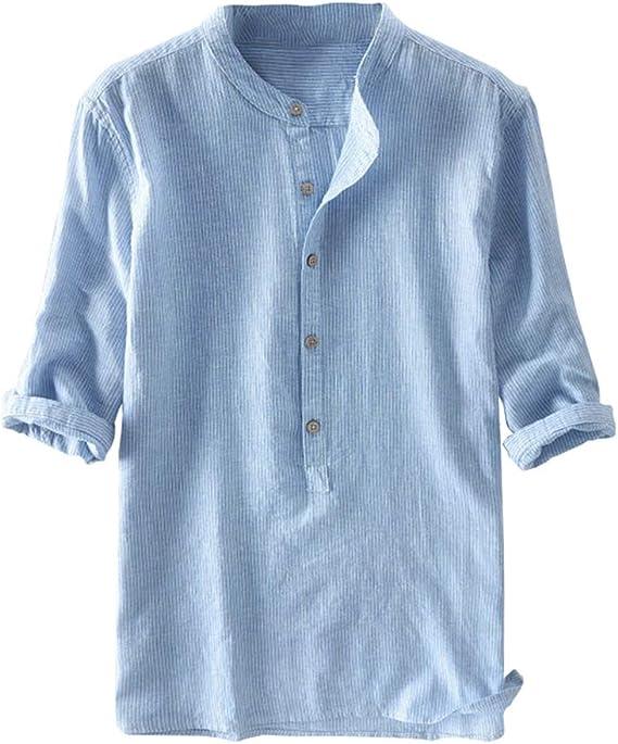 Hombre Rayas Camisa con Cuello Mao Casual Blusas de Trabajo de Color Sólido Eventos Importantes Verano Elegante Corte Ajustado Shirt con Botón: Amazon.es: Ropa y accesorios