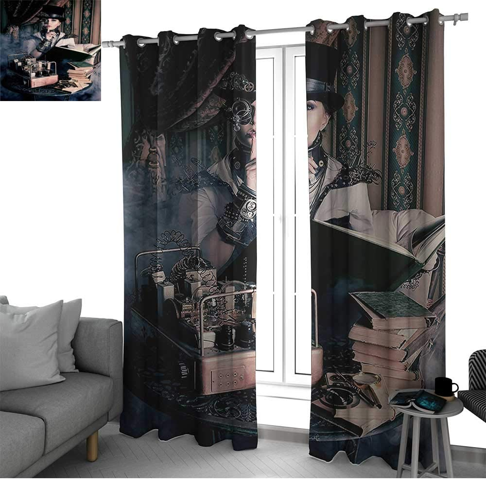 Gothic Decor Thermal Insulated Grommet Blackout Curtains Portrait Of Steampunk Woman With Medieval Vintage Style Outfit Historic Fashion Art Photo curtains for bedroo Brown Teal W120 x L108 Inch by Benmo House