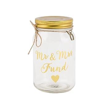 Amazon De Geldgeschenk Glas Hochzeit Mr Und Mrs Gold