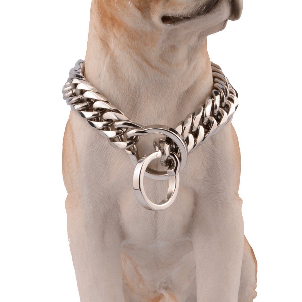 22inch recommend dog's neck 18inch 16 18mm Stainless Steel Silver Pet Dog Choke Curb Chain Collar Necklace For Strong Pit Bull, Big Breeds,14-36 Inches (18mm Wide, 22inch recommend dog's neck 18inch)