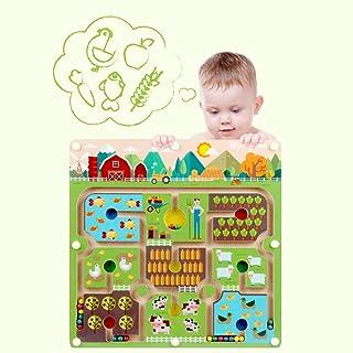 Gobus Perline Labirinto Puzzle educativo Gioco da Tavolo interattivo Labirinto per Bambini Giocattoli (Grande Fattoria)