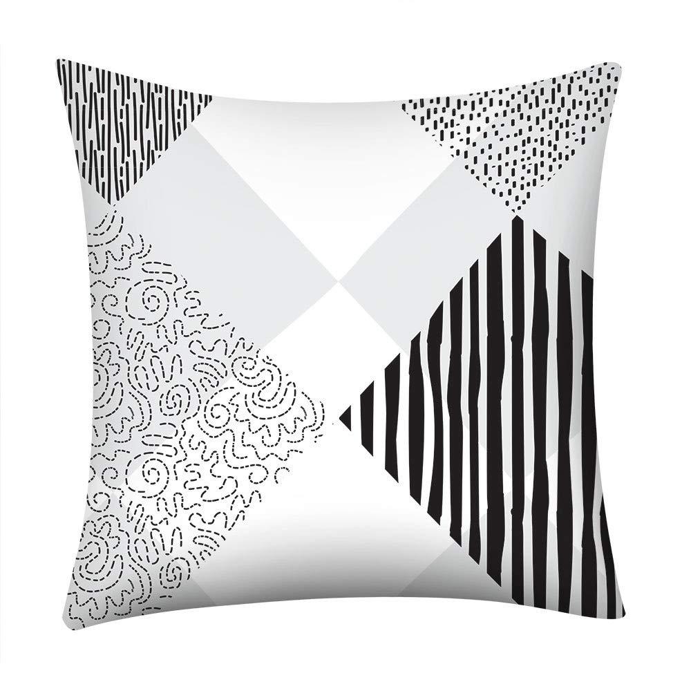 Psunrise La Almohada Soft Simple Geometric Print Pillow Case Polyester Sofa Car Cushion Cover Home Decor(45x45 cm, G)