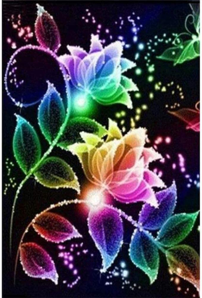 5D Diamond Painting Kits for Adults Kids Set,Full Round Drill Diamond Cross Stitch Arts Craft for Home Wall Decor Glowing Flowers 11.8x15.7Inch