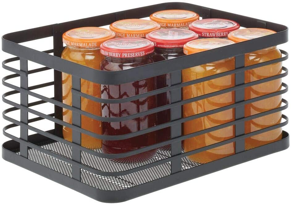 mDesign Modern Decor Metal Wire Food Organizer Storage Bin Basket for Kitchen Cabinets, Pantry, Bathroom, Laundry Room, Closets, Garage - Black
