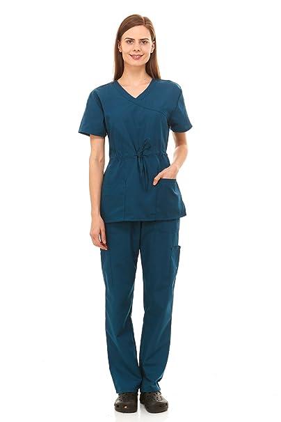 cdf614147c5 Denice Womens Medical Uniforms Mock Wrap Adjustable Tie Nurses Scrubs Set  1108 (2X-Large