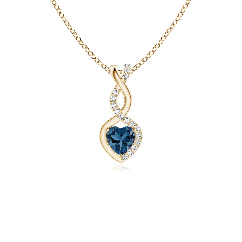 4mm London Blue Topaz London Blue Topaz Infinity Heart Pendant with Diamonds