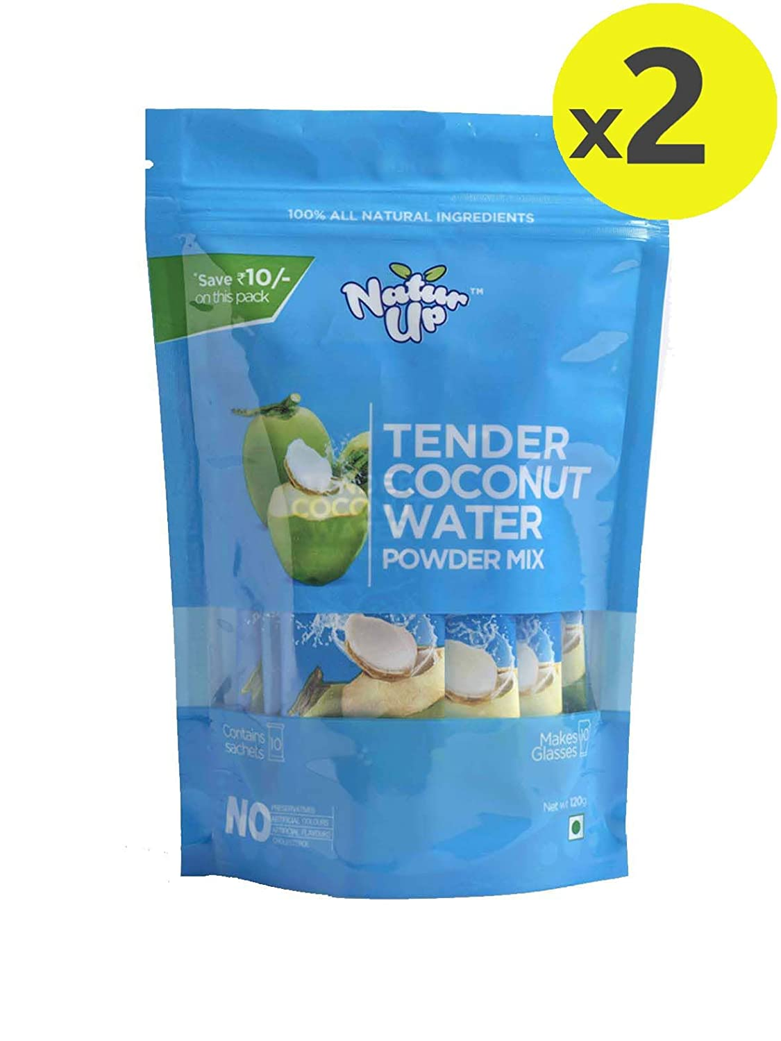 NaturUp Tender Coconut Water Powder Mix, 240 grams (2 x Pack of 10 sachets)
