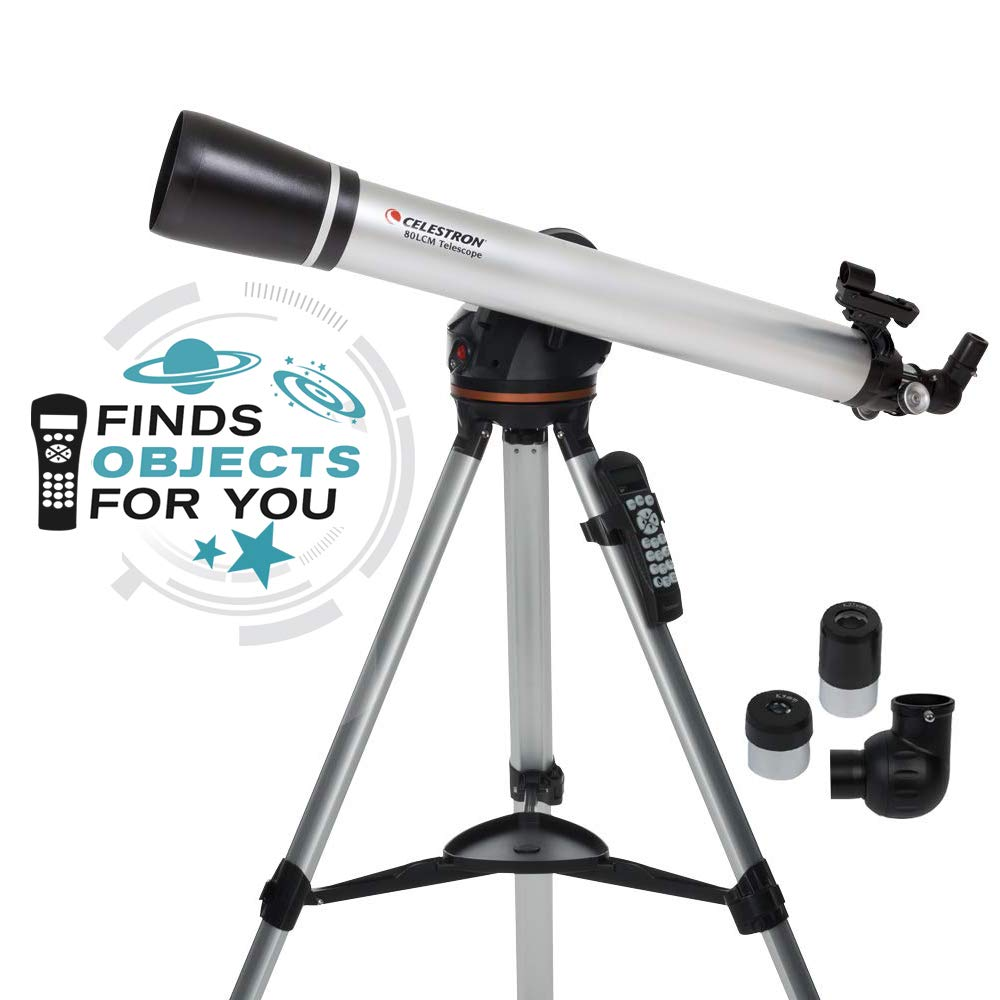 Celestron - 80LCM Computerized Refractor Telescope - Telescopes for Beginners - 2 Eyepieces - Full-Height Tripod - Motorized Altazimuth Mount - Large 80mm Refractor Reflector by Celestron