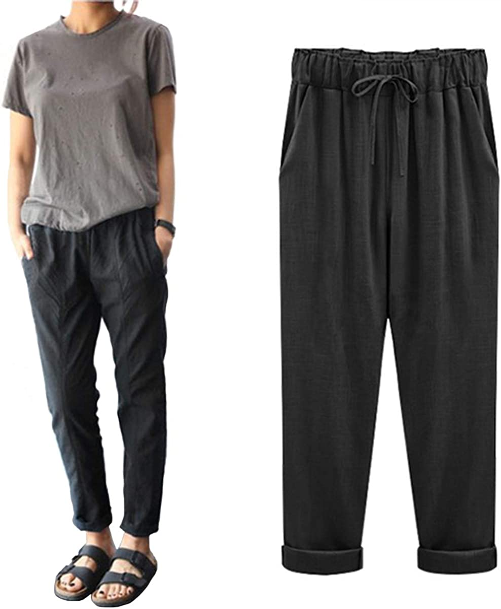 Helisopus Womens Elastic Waist Casual Relaxed Loose Fit Cotton Linen Pants Harem Trousers Cropped Pants