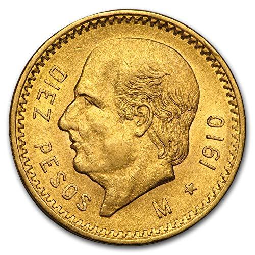 1910 MX Mexico Gold 10 Pesos BU Gold Brilliant Uncirculated