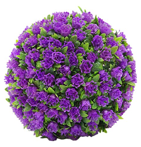 """Porpora Decorative Artificial Flower Ball for Home Decor, Weddings and other Special Events, 11"""" L, Purple"""
