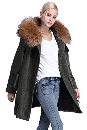 8fa048d183d1e Women s Corduroy Hooded Coat Parkas Detachable Real Large Real Raccoon Fur  Collar Lamb Fur Lining Loose