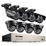 ZOSI 8CH Security Camera System HD-TVI 1080N/720P Video DVR recorder with (8) 1.0MP Bullet/Dome Weatherproof CCTV Cameras NO Hard Drive ,Motion Alert, Smartphone, PC Easy Remote Access