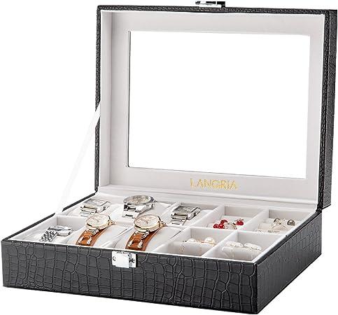 LANGRIA Caja para Relojes en Piel Cocodrilo Sintética de 10 Compartimentos con 6 Cojines Extraíbles y 4 para Accesorios Interior Aterciopelado Tapa de Cristal Cierre Metálica (Negro/Interior Beige): Amazon.es: Hogar