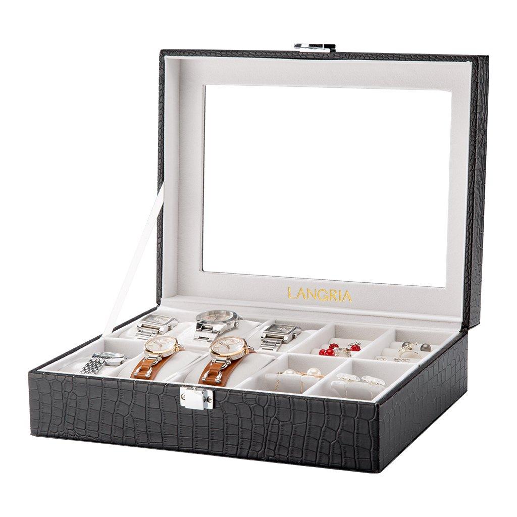 LANGRIA Caja para Relojes en Piel Cocodrilo Sintética de 10 Compartimentos con 6 Cojines Extraíbles y 4 para Accesorios Interior Aterciopelado Tapa de Cristal Cierre Metálica (Negro/Interior Beige)