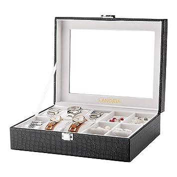 LANGRIA Caja para Relojes en Piel Cocodrilo Sintética de 10 Compartimentos con 6 Cojines Extraíbles y 4 para Accesorios Interior Aterciopelado Tapa de ...