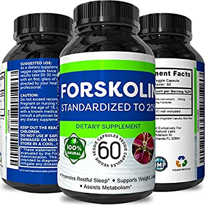 Forskolin Pure Supplements For Men & Women - Weight Loss Pills - Natural Appetite Control - Potent Testosterone Booster - Forskolin Extract For Weight Loss - Burn Belly Fat
