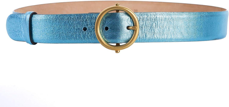 Roberto Cavalli Blue Laminated Gold Buckle Leather Belt IT 70//XS~RTL$1650