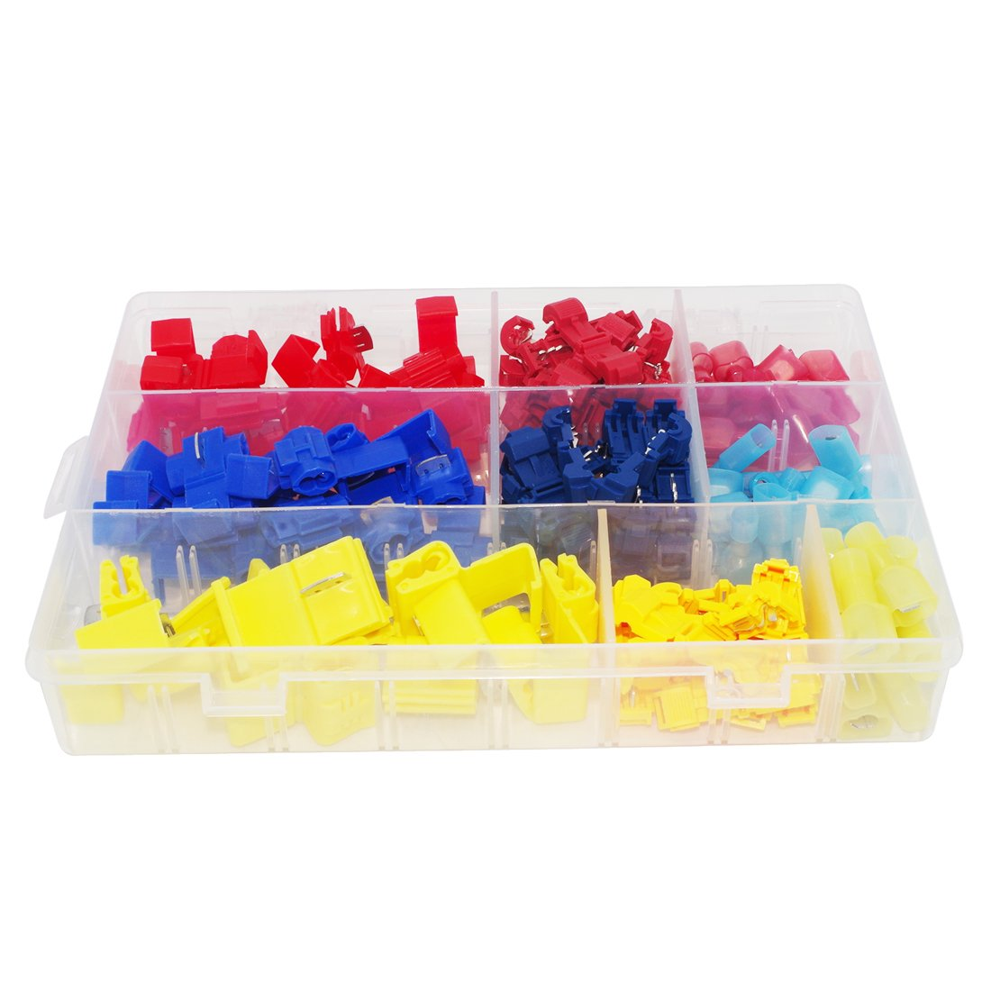 Haobase 120pcs Nylon Fully Insulated Male Spade Terminals and Quick Splice T-Tap Electrical Wire Connector Assortment With Box CECOMINOD050792
