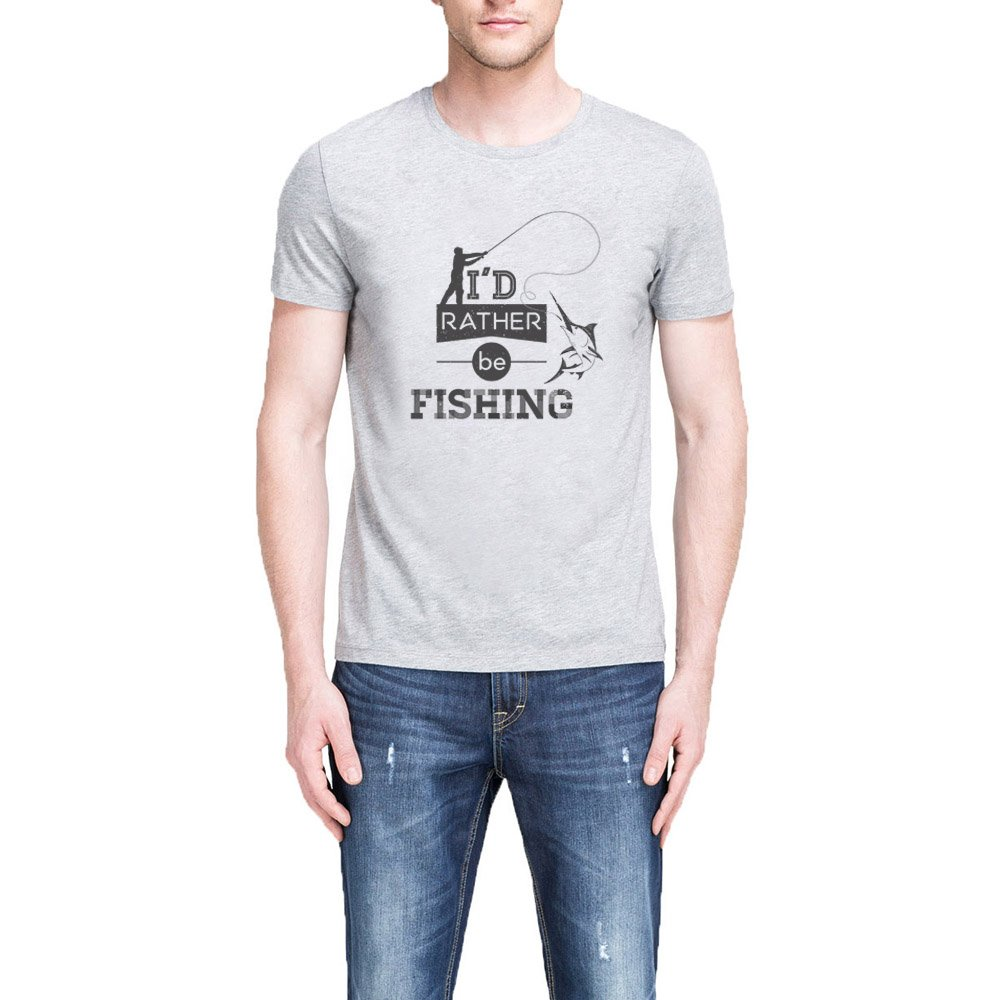 Loo Show I D Rather Be Fishing Crew Grey T Shirt Casual Tee