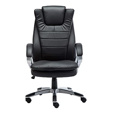 GreenForest Office Desk Chair PU Leather Gaming Computer Chair with Headrest and Lumbar Support, Black