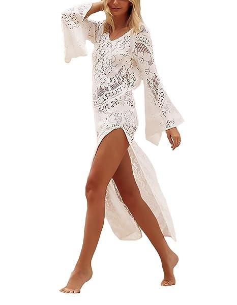 2037e86ac856 Vestiti Donna Eleganti Lunghi Moda Mare Pizzo Abiti Da Giorno Copricostume  Mare Manica Lunga Maniche Tromba V Scollo Senza Schienale Spacco Casual  Maxi ...
