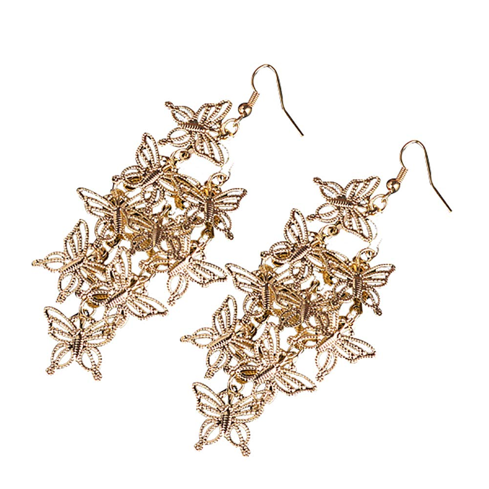preliked Earring With Multilayer Hollow Butterfly Dangle Hook Statement Jewelry Christmas Gift