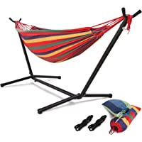 HONGJUN Double Hammock with Steel Stand - Space Saving 2 Person Adjustable and Portable Stand Hammocks,450 Pounds Capacity(Blue/Red)