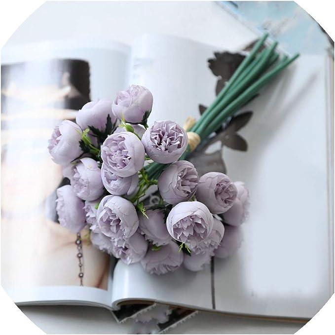 27 Heads Artificial Tea Rose Silk Flowers Fake Bouquet For Home Wedding Decor A