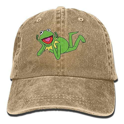 jin bo Cotton Denim Cap Kermit The Frog Unisex Denim Baseball Cap Hat Natural