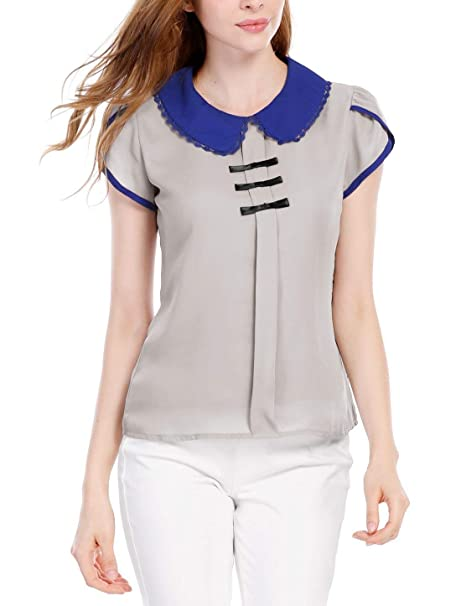Camisas Mujer Verano Delgado Chiffon Blusas Camisas Señoras Elegantes Cuello Redondo Basic Manga Corta Casuales Moda