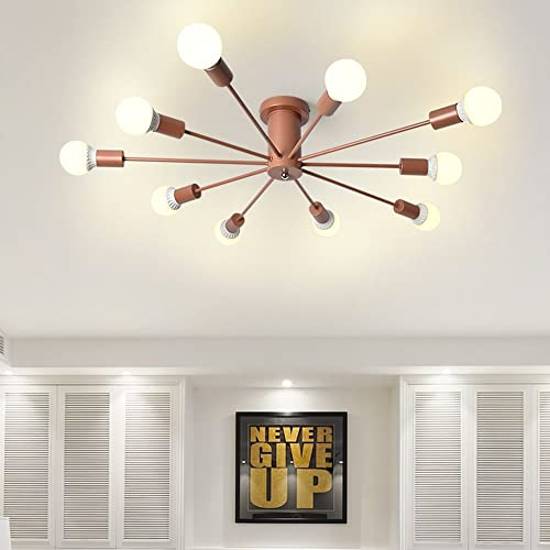 Aero Snail Modern Rose Gold Flush Mount Chandelier Ceiling Light 10-Head Lamp For Living Room Hallway
