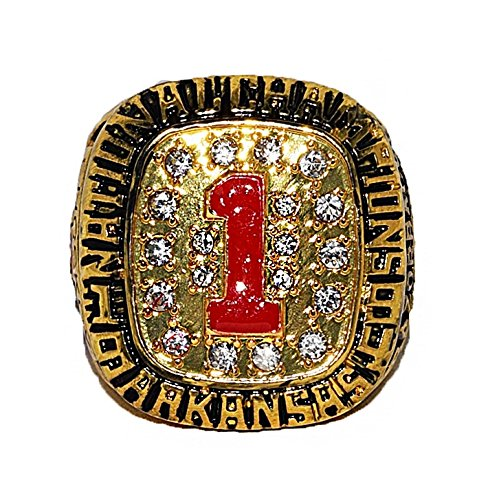 ARKANSAS RAZORBACKS (John Engskov) 1994 NCAA NATIONAL SEC CHAMPIONS (First Title) Vintage Rare & Collectible High Quality Replica NCAA Basketball Gold Championship Ring with Cherrywood Display Box