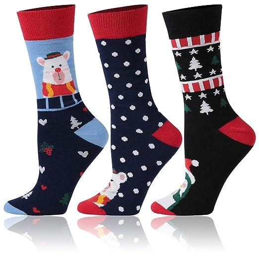 30fb107019 Christmas Printed Socks,HEATINDOOR Women Men Fun Festive Crew Socks,Novelty  Holiday Dress Socks