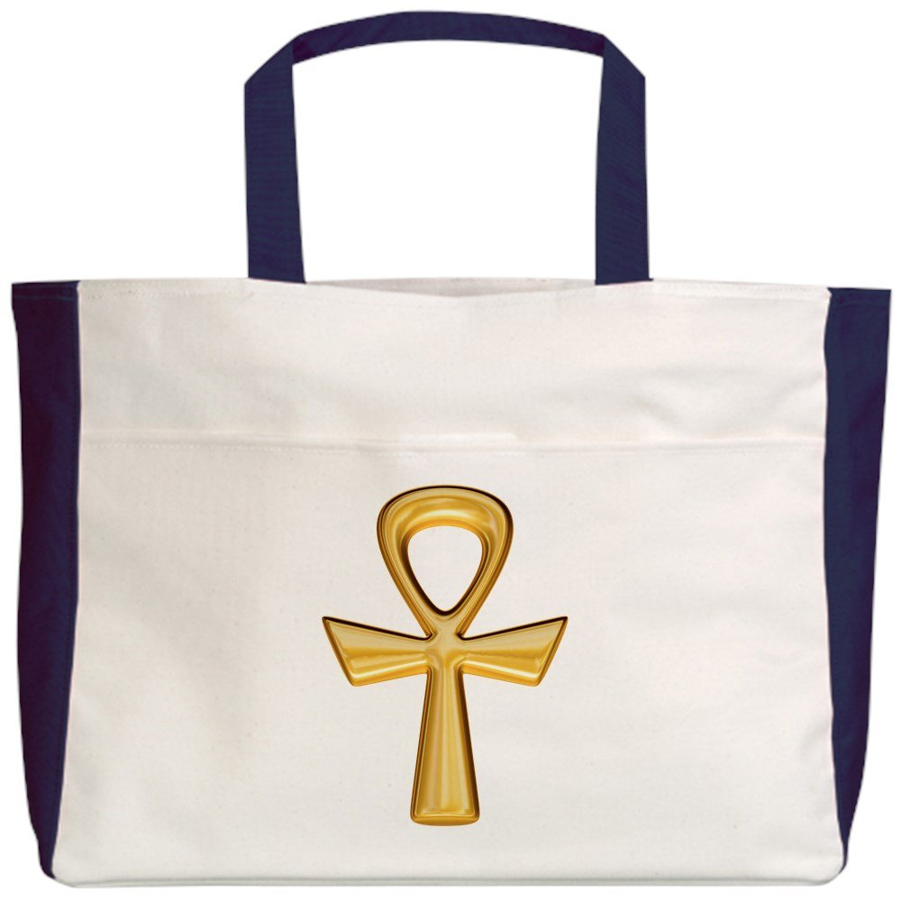 2-Sided Royal Lion Beach Tote Egyptian Gold Ankh